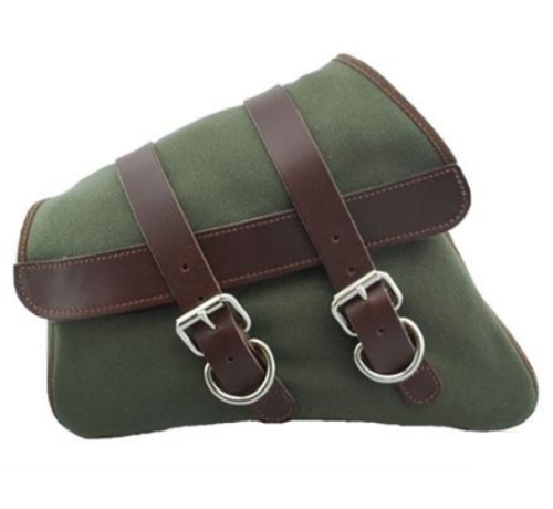 La Rosa La Rosa Canvas Left Side Saddle bag - Army Green with Brown Straps Fits: > 04-20 XL Sportster