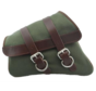 La Rosa Canvas Left Side Saddle bag - Army Green with Brown Straps Fits: > 04-20 XL Sportster