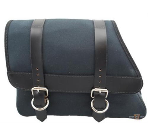 La Rosa La Rosa Canvas Left Side Saddle bag - Black with Black Leather Accents  Fits: > 82-03 Sportster