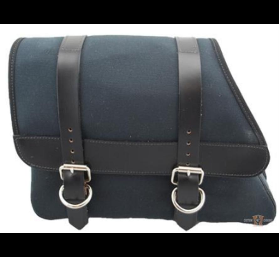 La Rosa Canvas Left Side Saddle bag - Black with Black Leather Accents  Fits: > 82-03 Sportster