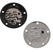 Drag Specialities Flaming Skull Point Cover Twincams