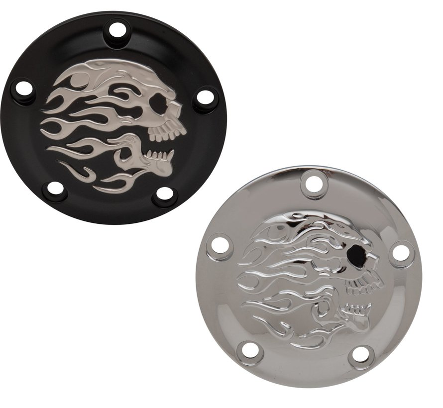 Harley Davidson Flaming Schädel Point Cover Twincams