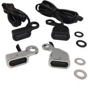 Drag Specialities LED stuur zwart of chroom met oranje richtingaanwijzers: passend voor: 00-14 Softail, 99-17 Dyna, 96-03 XL Sportster - Copy