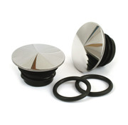MCS gas tank pointed gas cap  set - Polished stainless steel  low profile Fits: > 96-99 H-D