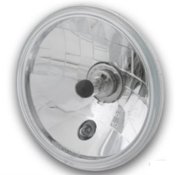 "Custom Chrome 5 3/4"" Headlight Insert, Clear, Black Dot  Fits: > 5,75 inch headlight housing"