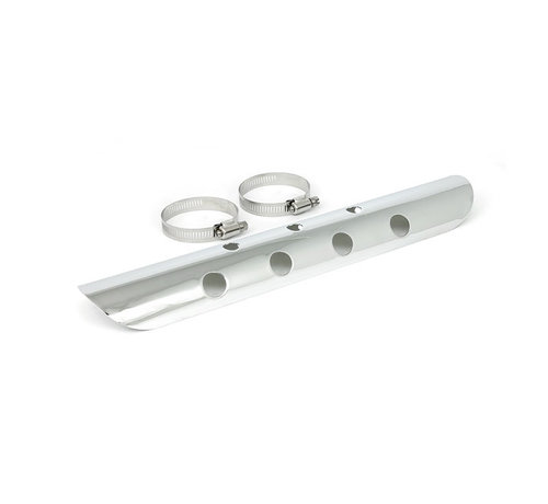 """TC-Choppers Universal Bullet Hole heat shield 14"""" long chrome or black Fits: > 2-1/4"""" exhaust pipes"""