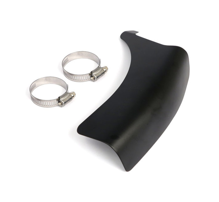 FL Shovel vertical crossover heat shield black or chrome Fits: > 65-84 4-sp