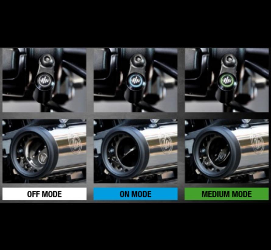 "KessTech Fusion Short slip-ons zwart, slash short down Past op: > 107"" M8 Softail modellen: 18-20 Fat Bob"
