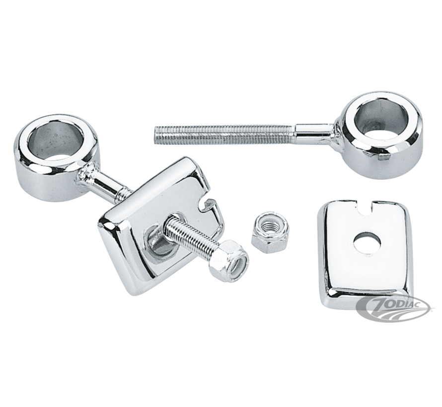 Chrome rear wheel adjusters Fits: > 1973 - 1986 Sporster