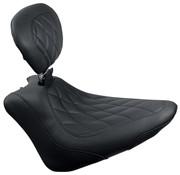 Mustang Brede Tripper™ Solo Seat met Diamond Stitch en rugleuning- Geschikt voor: > 11-13 Softail FXS Blackline; 11-17 FLS/S Softail Slim