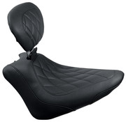 Mustang Wide Tripper™ Solo Seat with Diamond Stitch and backrest- Fits: > 11-13 Softail FXS Blackline; 11-17 FLS/S Softail Slim