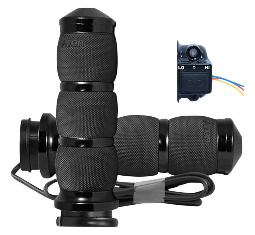 Avon verwarmde Handvatten Kraton rubber Zwart of Chroom Past op: > 08-21 HD met e-throttle