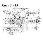 Sonnax transmissie 5 speed onderdelen 80-06 Shovelhead / Evo & Twincam Big Twin nr 1-35