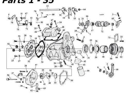 transmission 5 speed parts 80-06 Shovelhead/Evo & Twincam Big Twin nr 1-35