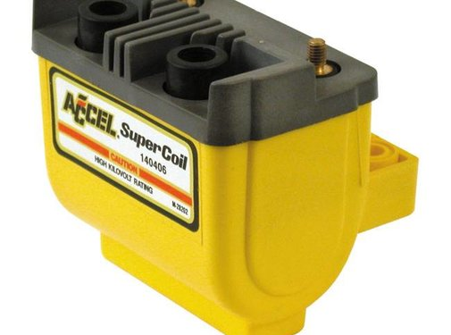 Accel Ignition Coil HEI SUPER ' 12V 2.4.7 Ohm. Points - Black/Yellow/Chrome