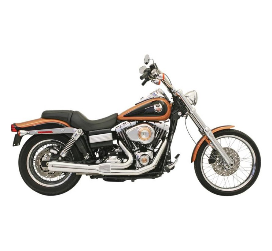Harley Davidson Auspuff Roadrace 2-1 06-16FXD Chrom / Schwarz