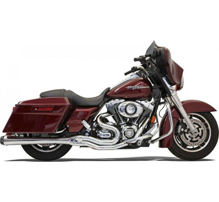 Harley Davidson Auspuff 2-1 MEGA 95-15FL Chrom / Schwarz