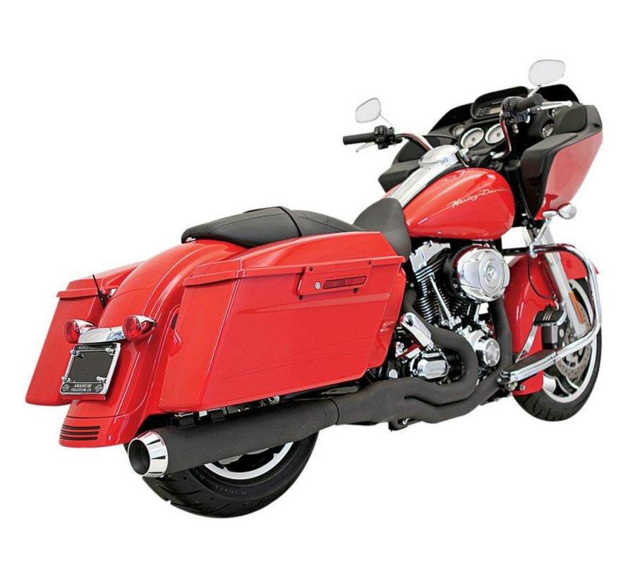 Harley Davidson Auspuff 2-1 95-15FL Chrom / Schwarz