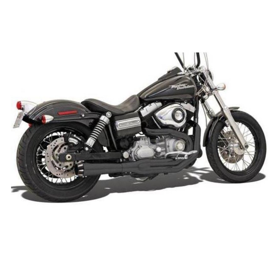 Harley Davidson Auspuff 2-1 MEGA Road Rage II FXD Chrom / Schwarz