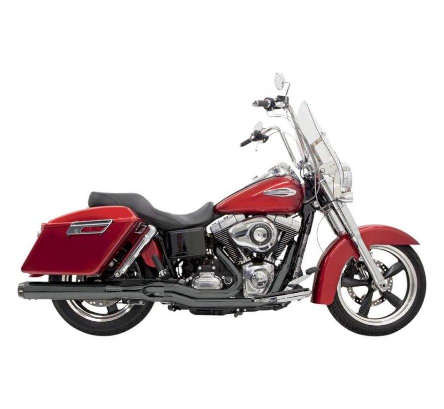 Harley Davidson Auspuff 2-1 Roadrage FLD Chrom / Schwarz