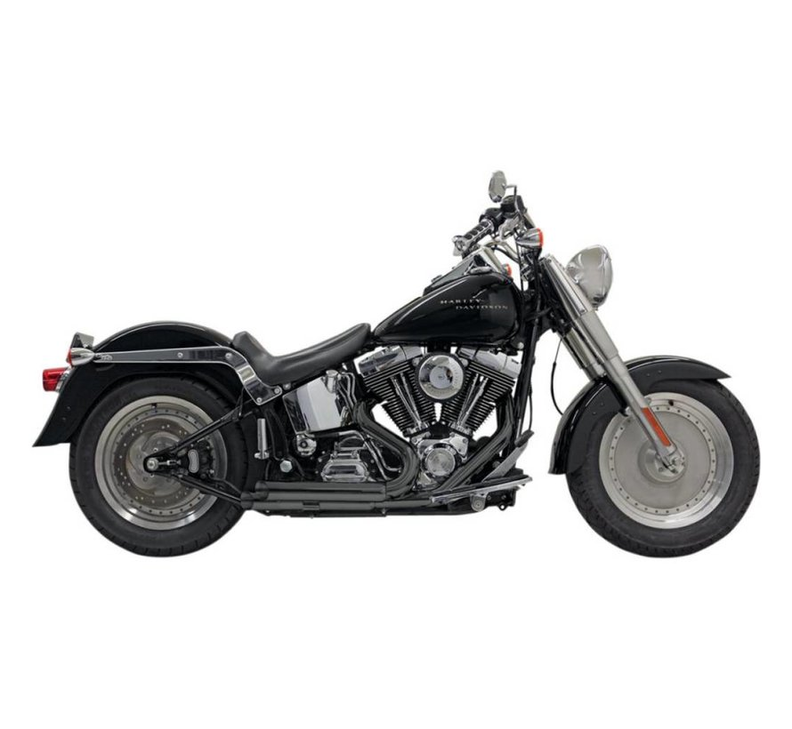 Harley Davidson Exhaust Pro-Street Slash Cut Chrom / Schwarz - Softail86-15