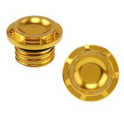 Rough Crafts gas tank gas cap Groove - Gold  Fits: > 96-20 Harley Davidson vented gas cap