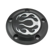 Wyatt Gatling Engine Black 5-hole flame point cover Fits: > 99-17 Twin Cam