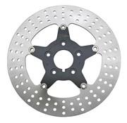 Zodiac Flotante del rotor del freno de disco con el centro negro, de 5 estrellas, Recepción - Se adapta a todos los discos simples y dobles 2000-2014 Sportster, 2000-2007 Touring, Dyna 2000-2005 y 2000 más arriba Softail.