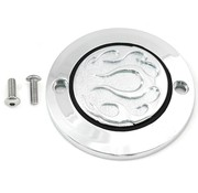 Wyatt Gatling Engine  Chrome 2-Hole Flame Point Cover Fits:> XL 2004-UP
