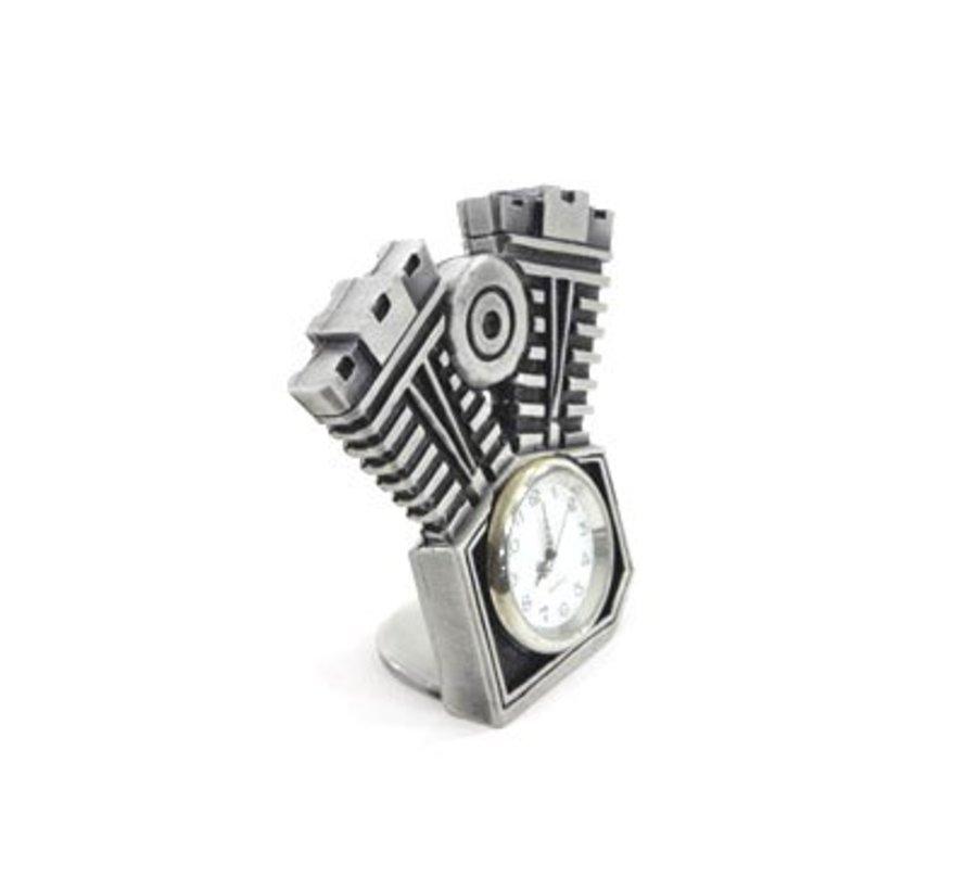 Accessoires Motorklok met zilver gepatineerde afwerking