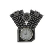 Moto horloge avec patine argent