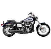 Cobra Exhaust system Speedster slash down with powerport black heat shields; For all 06-11 Dyna models,