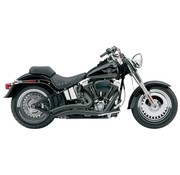 Cobra Exhaust system Speedster Short Swept black heat shields; For all 07‑11 FXST/ FLST models
