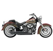 Cobra Exhaust system Slash Down with powerport chrome heat shields; For all 12-16 Dyna models (except FLD),