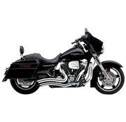 Cobra Exhaust system Speedster Short Swept chrome heat shields; For all 10‑16 FLHT/ FLHR/ FLHX/ FL Trike models