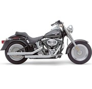 Cobra Exhaust system Dragster staggered chrome; For Softail FLST/FXST 86-06