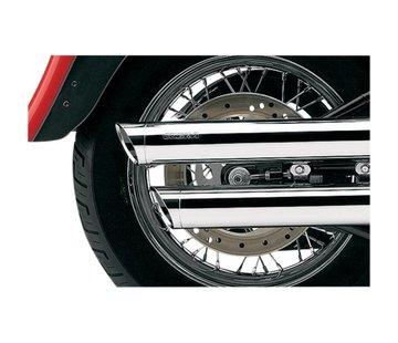Cobra 3 inch slip-on mufflers chrome; 08-16 FXDF