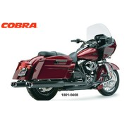 Cobra Tri-Oval Slip-On Schalldämpfer Schwarz, Für 95-16 FLHT / FLHR / FLHX / FLTR Modelle
