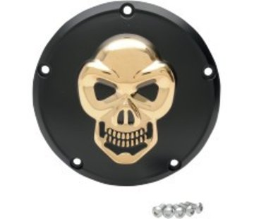 primary derby cover  skull black - gold for 70-13 Twincam