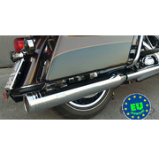 MCJ exhaust Edition 120 Slip-Ons (4.724 inch  = 120mm diameter) with Stripe end caps Chrome Fits:> 1995 - 2016 Touring FLH/FLT