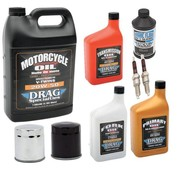 Drag Spec. Maintenance Complete Service Kit with spark plugs Engine Drive Train fork Oil Brake Fluid for 1984-1999 Evolution Big Twin