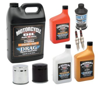 Drag Specialities Complete Service Kit with spark plugs Engine Drive Train fork Oil Brake Fluid for 1984-1999 Evolution Big Twin