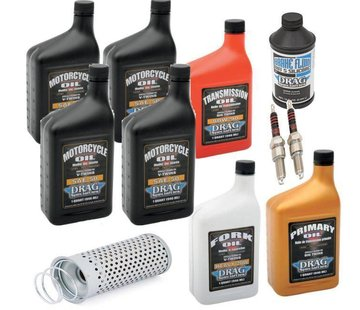 Drag Spec. Maintenance Complete Service Kit with spark plugs Engine Drive Train fork Oil Brake Fluid for 53-E82 FL Shovelhead
