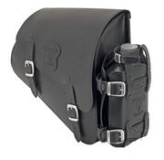 Texas leather Bolso de cuero negro con hebillas mate, montaje de soporte de hardware y lata de aceite