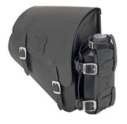 Texas leather tassen Zwarte leren tas met matte gespen bevestigingsmateriaal en oliehouder