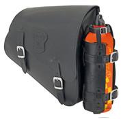 Texas leather Bolso de cuero negro con hebillas mate, accesorios de montaje, Can combustible y el soporte de combustible puede