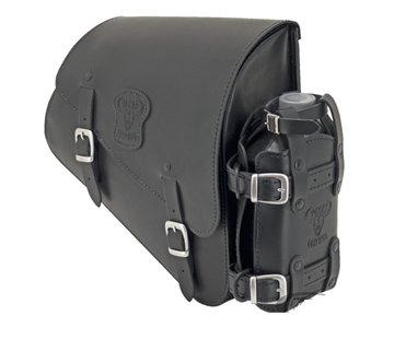 Texas leather tassen Zwart leren tas met matte gespen bevestigingsmateriaal