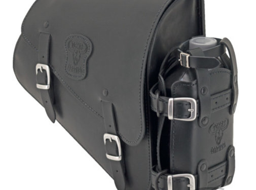 Texas leather bags Black leather bag with matte buckles mounting hardware