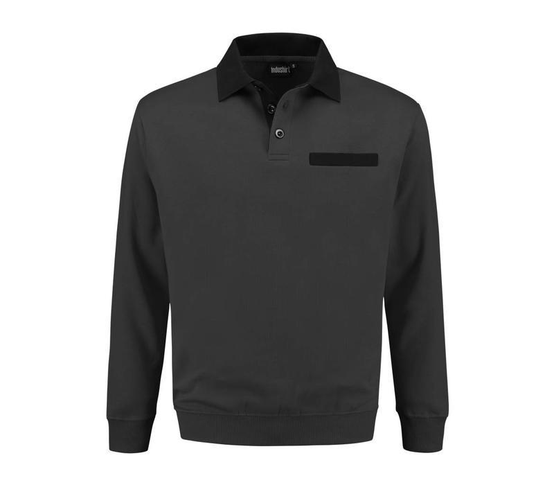 PSW300 polosweater met knoop en borstzak