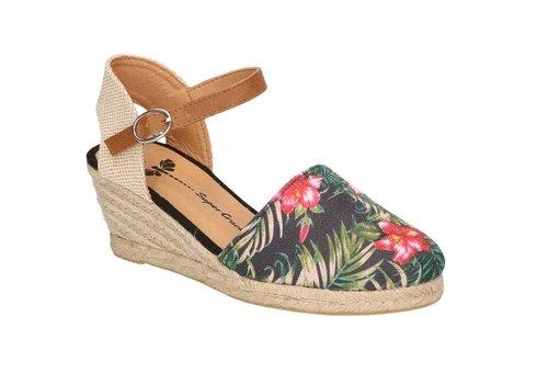 Super Cracks UVA Flower Sandaal met sleehak